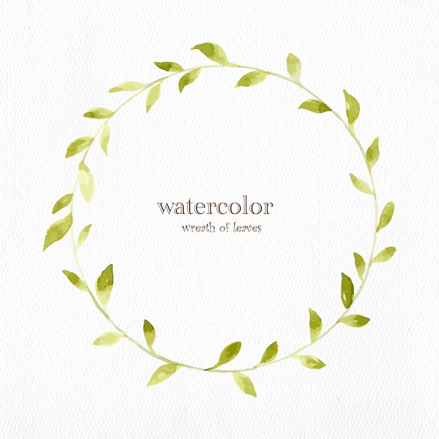 Watercolor wreath of leaves Free Vector