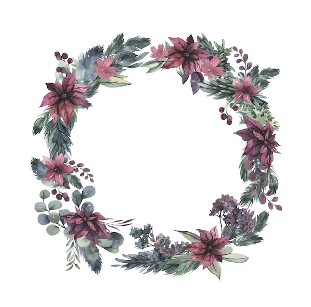Watercolor wreath with red flowers and green leaves. Premium Vector