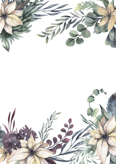 Watercolor wreath with white flowers and green leaves. Premium Vector