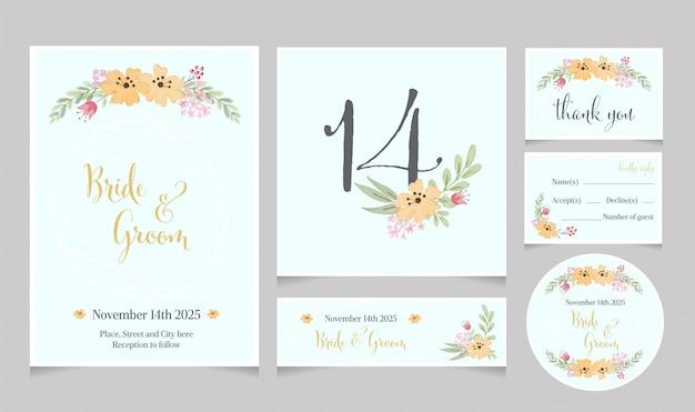 Watercolor yellow cosmos flower wedding invitation card template collection Premium Vector