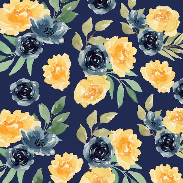Watercolor yellow and indigo loose flower seamless pattern Premium Vector