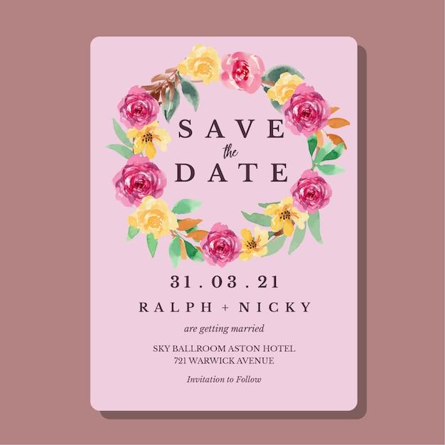 Watercolor yellow and magenta loose floral wedding invitation card template Premium Vector