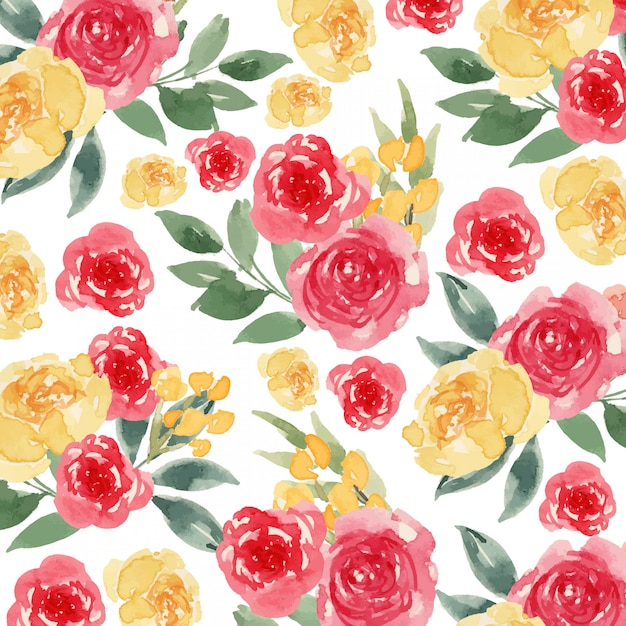 Watercolor yellow and red loose flower seamless pattern Premium Vector