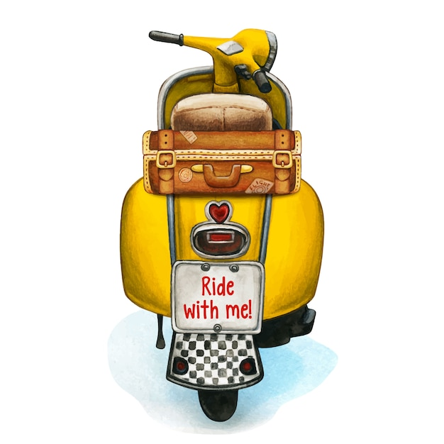 Watercolor yellow scooter with vintage luggage Premium Vector