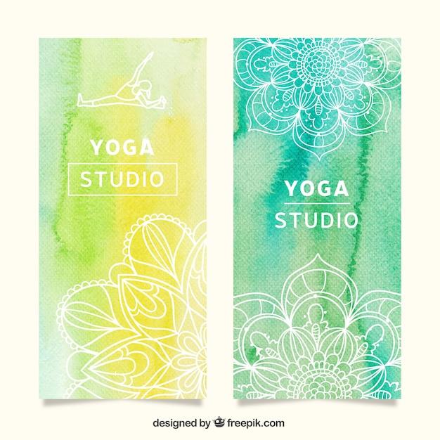 Watercolor yoga banner Free Vector