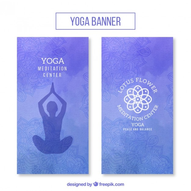 Watercolor yoga banners set