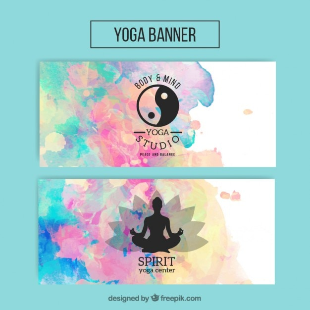 Watercolor yoga banners with yin yang symbol\ and silhouette