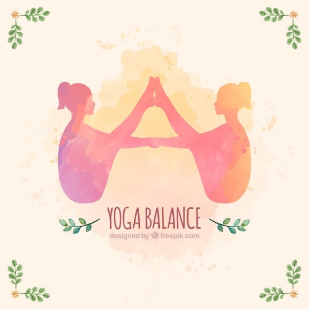 Watercolor yoga cute yoga background