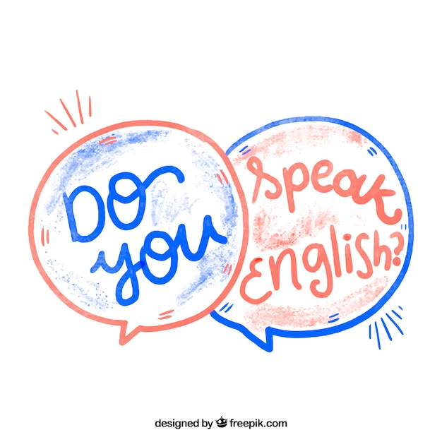 Watercolor do you speak english question Free Vector