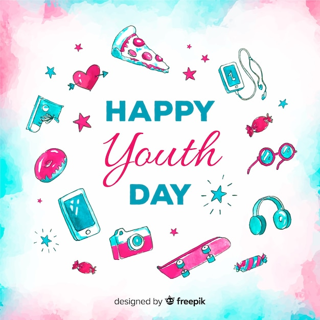 Watercolor youth day background Free Vector