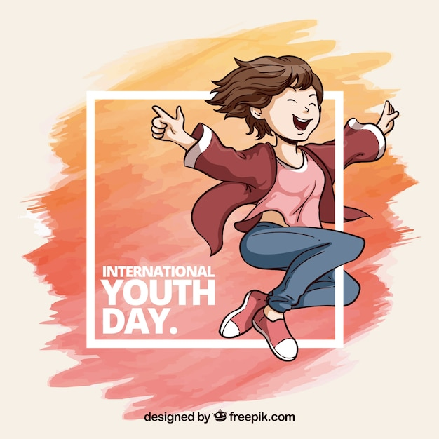 Watercolor youth day frame with watercolor strokes and girl Free Vector