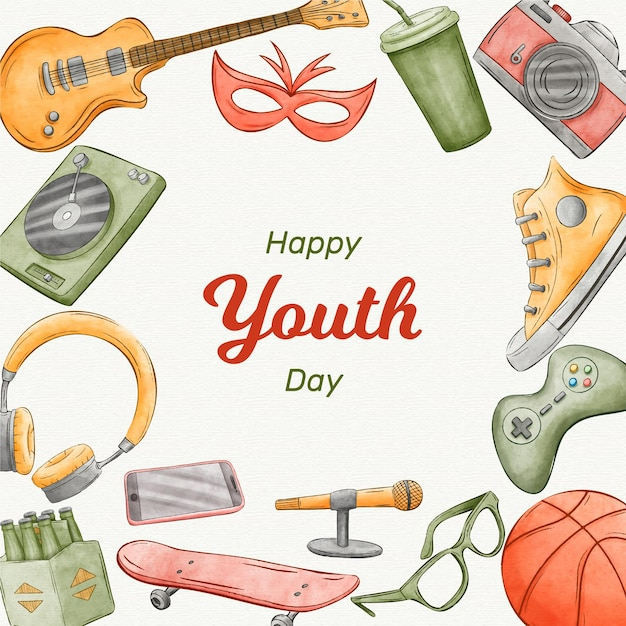 Giornata della gioventù dell'acquerello Vettore gratuito