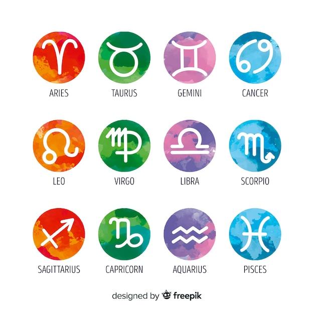 Watercolor zodiac signs collectio Free Vector