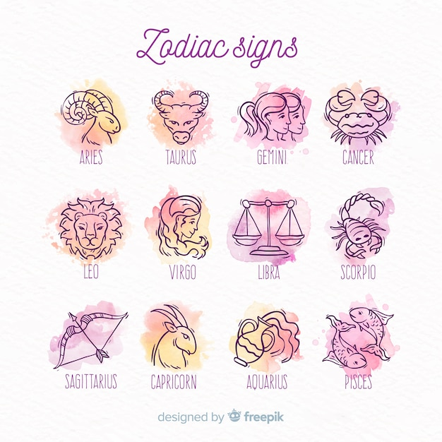 Watercolor zodiac signs pack Free Vector