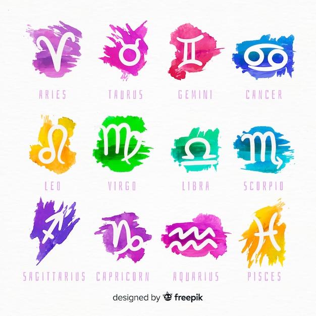 Watercolor zodiac signs Free Vector