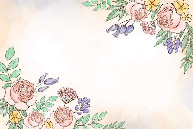 パステルカラーの背景の水彩画の花のテーマ 無料ベクター