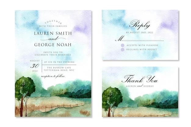 Акварельные свадебные приглашения с мечтательным пейзажем Premium векторы