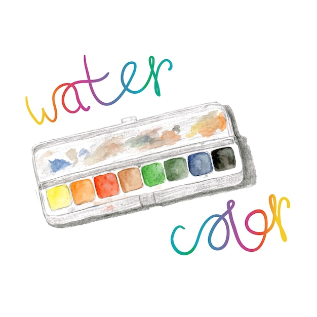 premium vector | watercolors and paintbox. rainbow watercolor palette.  vector hand paint isolated  freepik