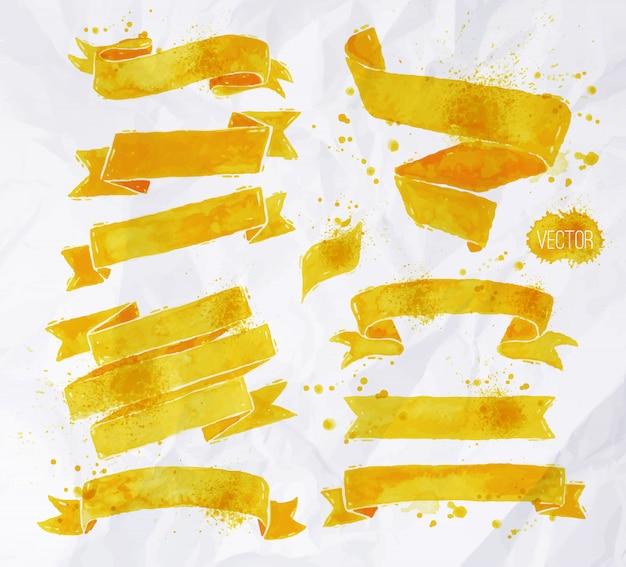Watercolors ribbons  yellow color Premium Vector