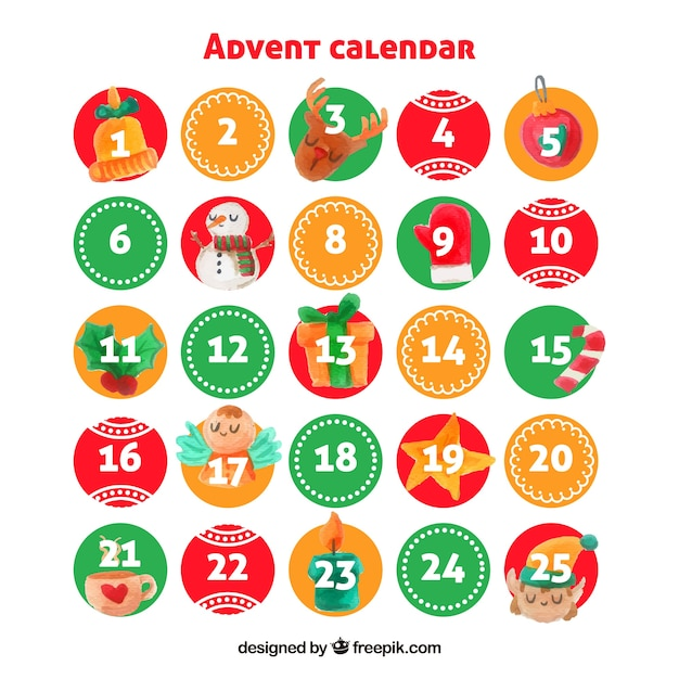 Watercolour advent calendar with round days
