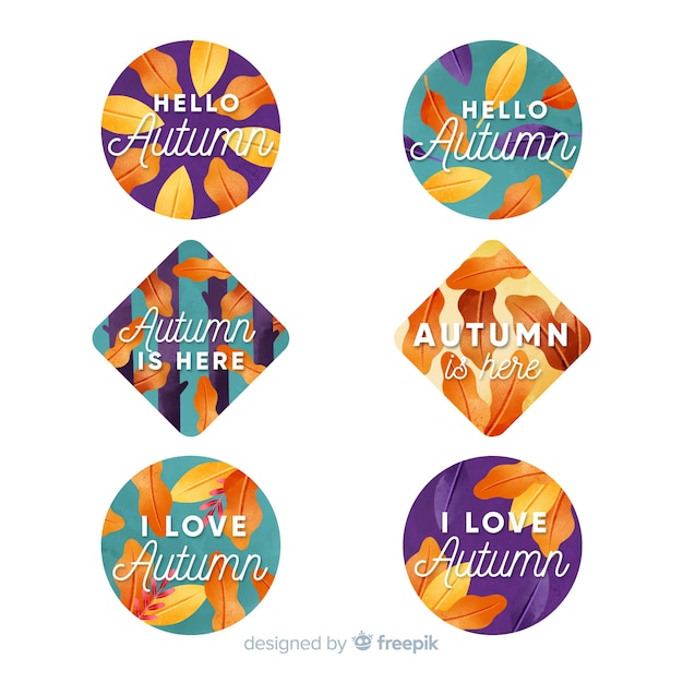 Watercolour autumn label and badge collection Free Vector