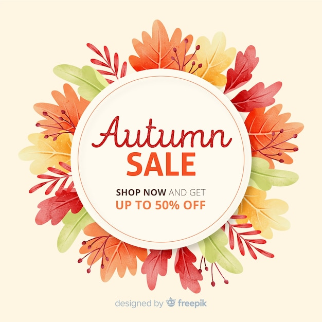 Watercolour autumn sale with dried leaves Free Vector