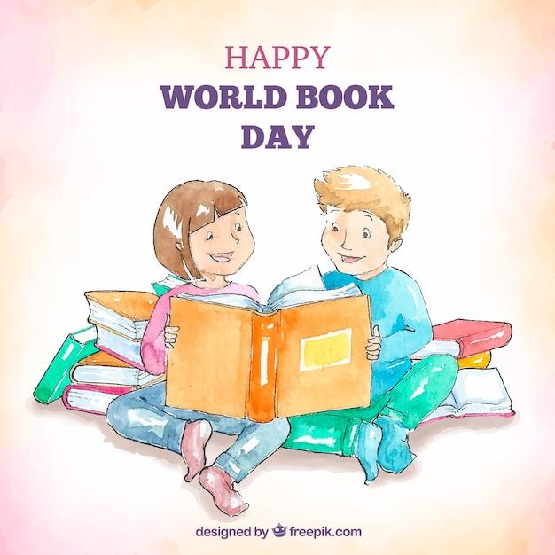 Giorno del libro di mondo felice dell'acquerello sfondo Vettore gratuito