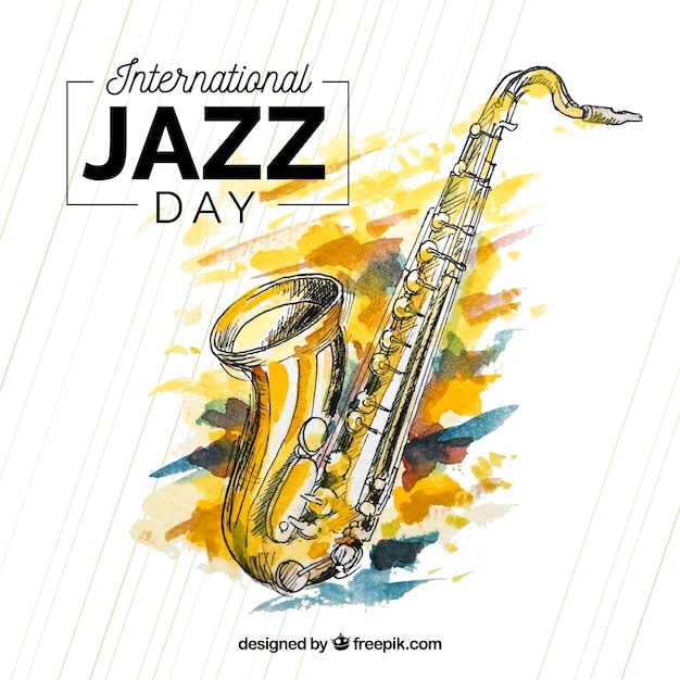 Watercolour background for international jazz day Free Vector