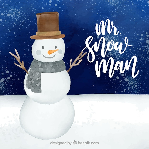 Watercolour background with a mr snowman