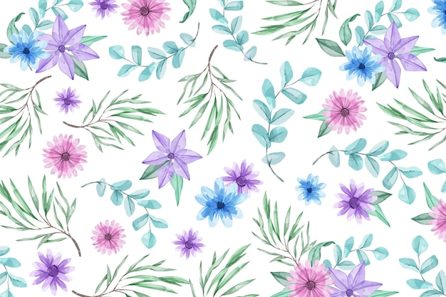 Watercolour background with blue and violet flowers Free Vector