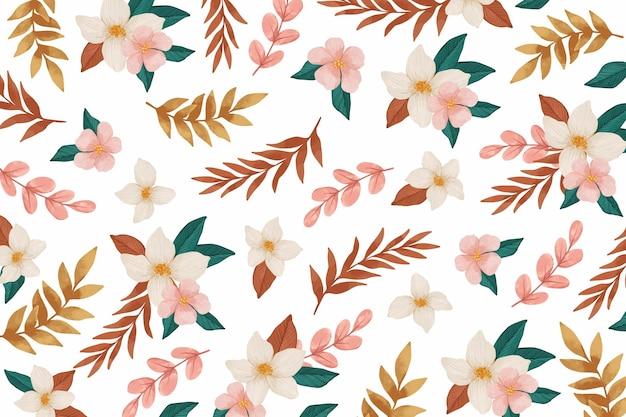 ピンクの花の水彩画の背景 無料ベクター