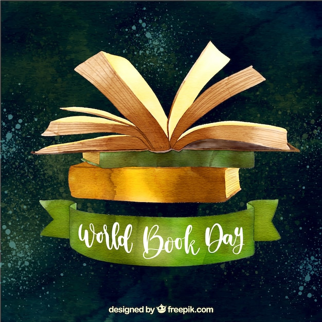 Priorità bassa dell'acquerello per la giornata mondiale del libro Vettore gratuito