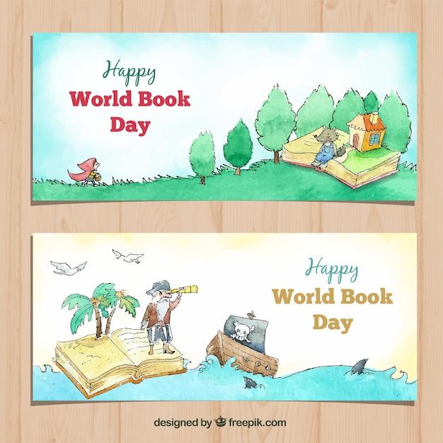 Bandiere dell'acquerello per la giornata mondiale del libro Vettore gratuito