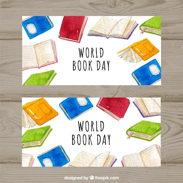 Bandiere dell'acquerello per la giornata mondiale del cibo Vettore gratuito