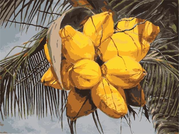Акварель красивая рисованная кокосовая иллюстрация Premium векторы