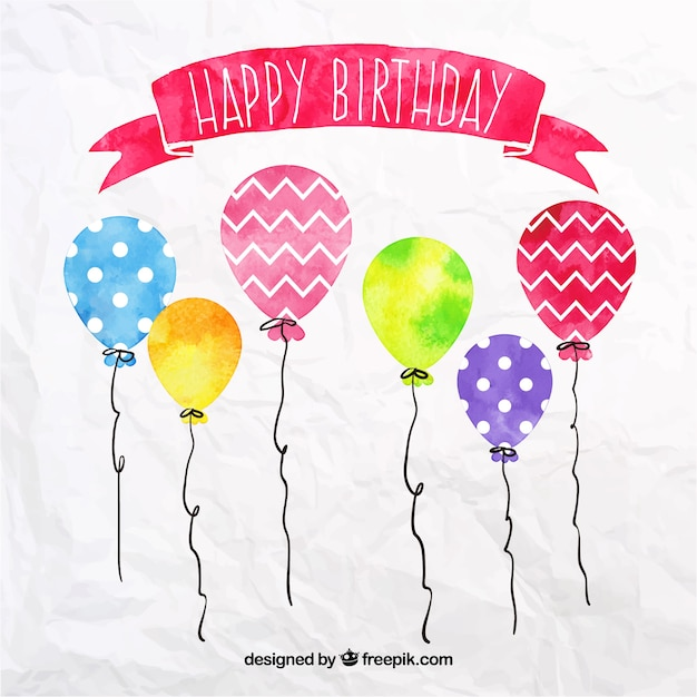Watercolour birthday balloons