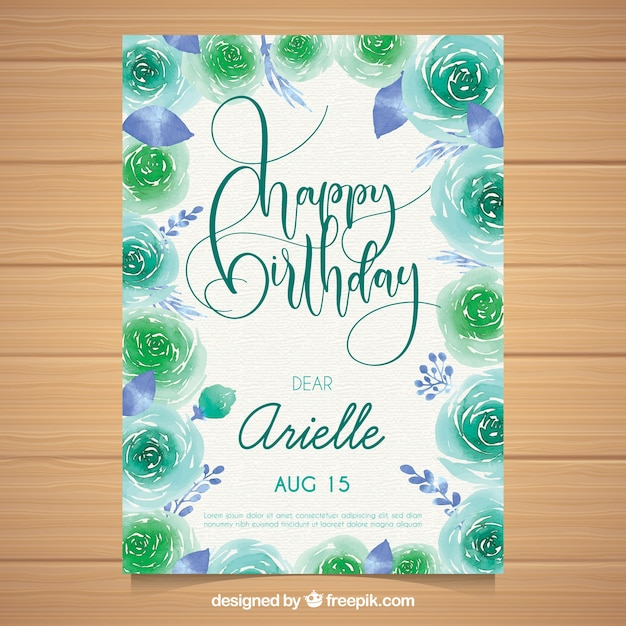 Watercolour birthday card with beautiful flowers Free Vector