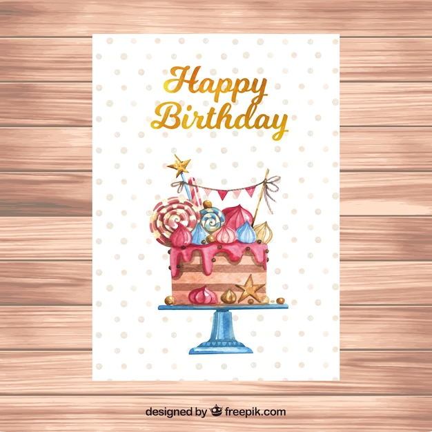 Watercolour birthday card with a cake Free Vector