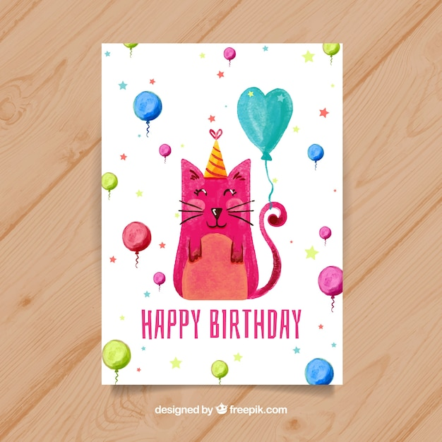 Watercolour Birthday Card With A Cat Free Vector