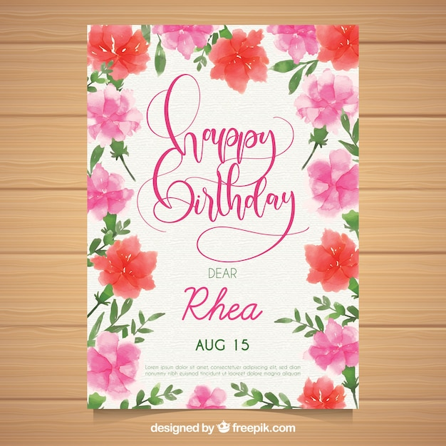 Watercolour birthday card with flowers Free Vector