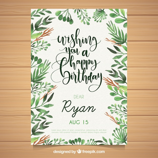 Watercolour birthday card with leaves Free Vector