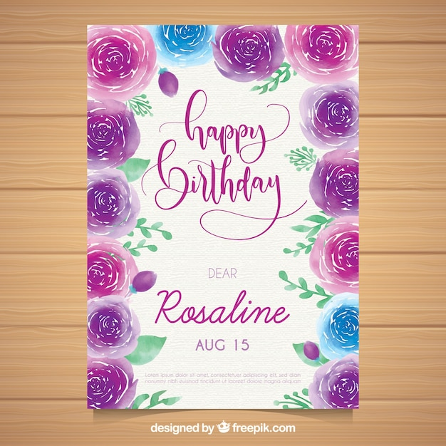 Watercolour birthday card with roses Free Vector