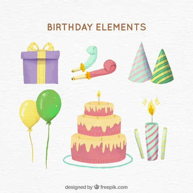Watercolour birthday party attributes Free Vector