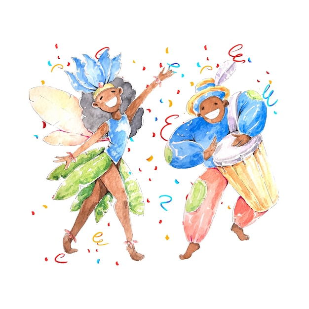 Watercolour brazilian carnival with people in costumes Free Vector