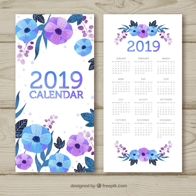 watercolour calendar for the year 2019 free vector