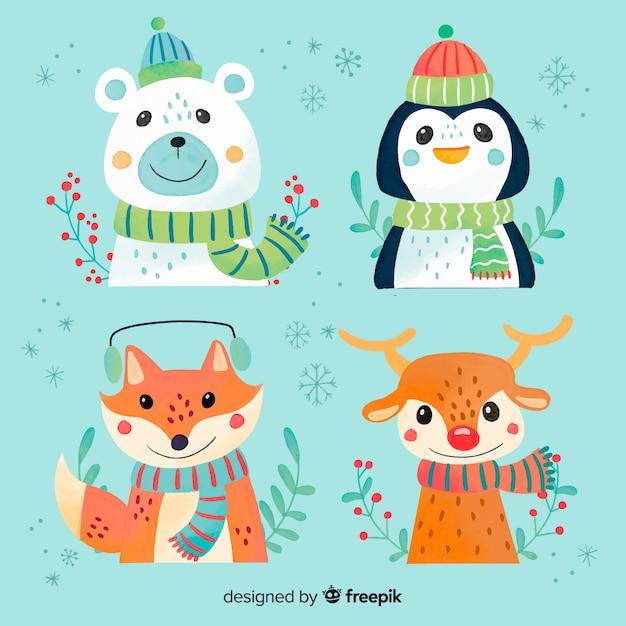 Коллекция акварельных рождественских животных персонажей Бесплатные векторы