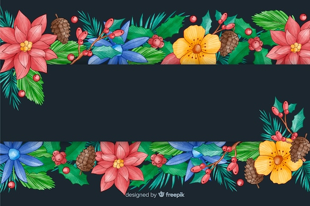 Watercolour christmas background with colorful flowers Free Vector