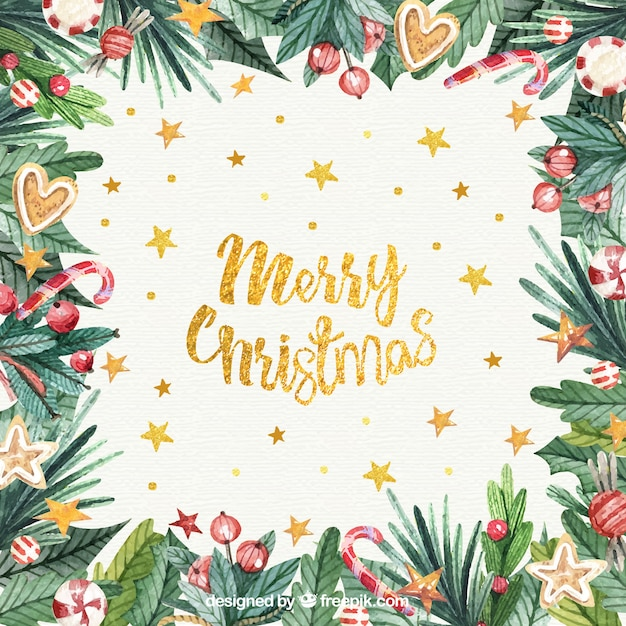 Watercolour christmas background with golden letters Free Vector
