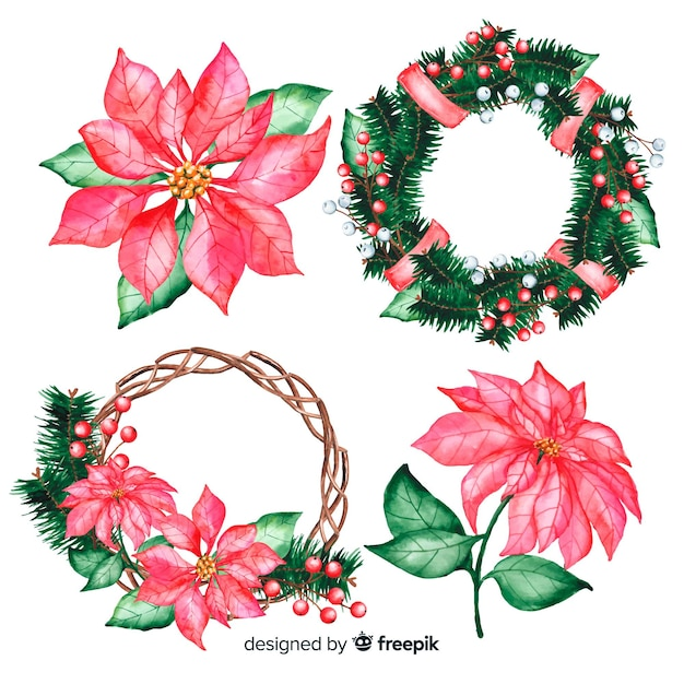 Watercolour christmas flowers on wreath Free Vector