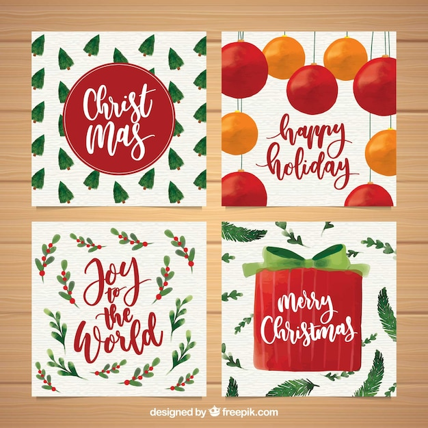 Watercolour christmas greeting cards